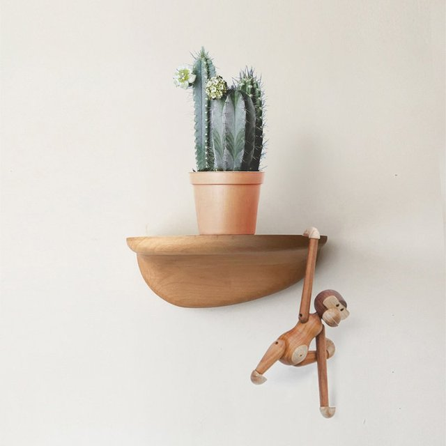 Half Floating Wood Shelf