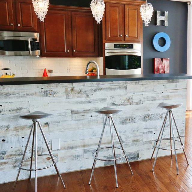 Reclaimed Weathered Wood Adhesive Paneling by Stikwood