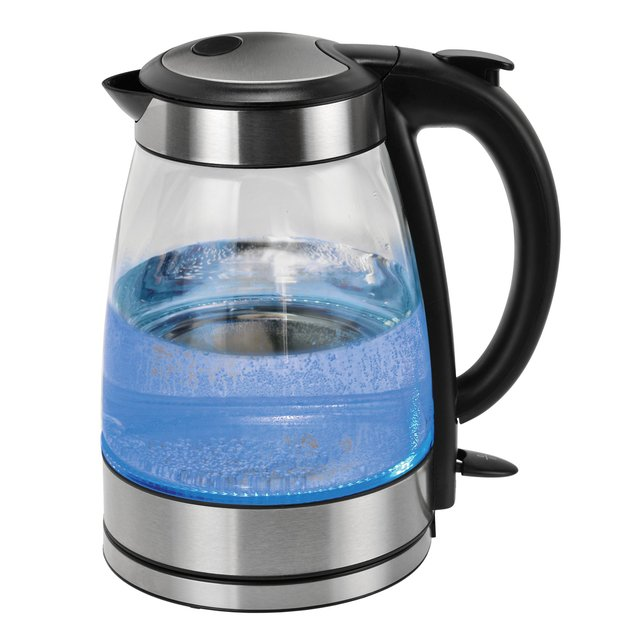Kalorik Black and Stainless Steel Glass Water Kettle