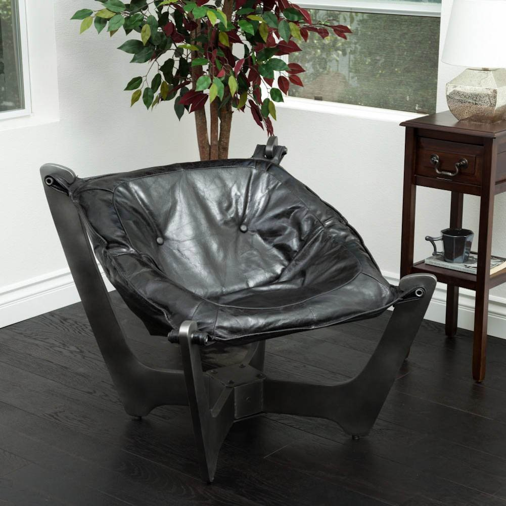 Modern Design Black Top Grain Leather Sling Chair