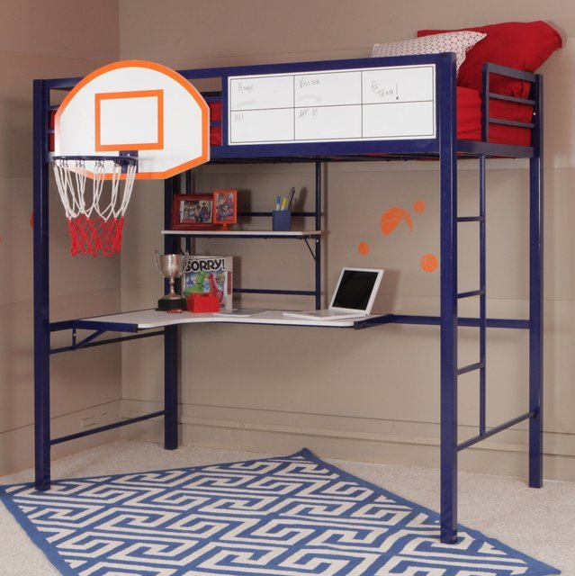Hoops Basketball Twin Loft Bed with Desk
