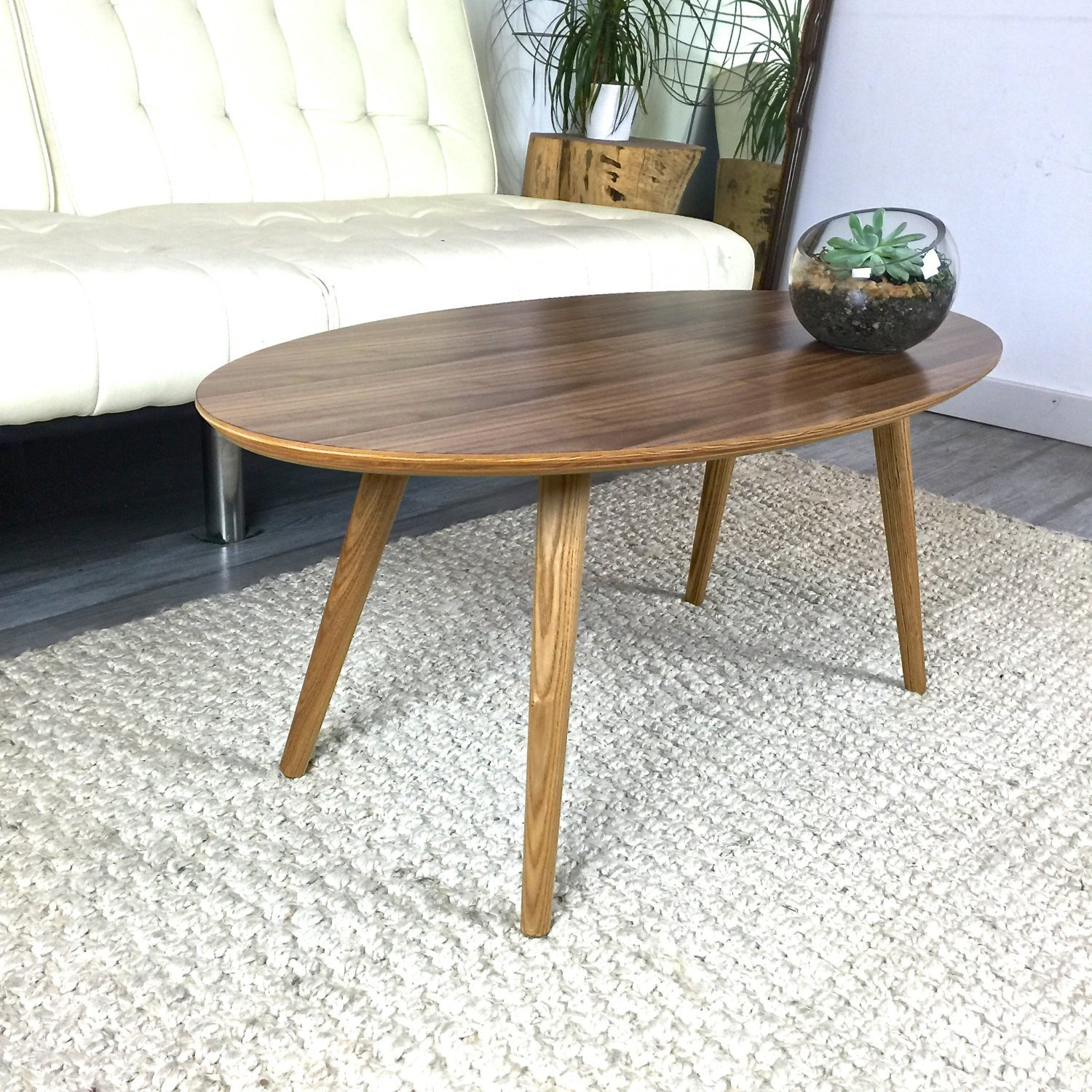 Mid Century Walnut Surfboard Coffee Table