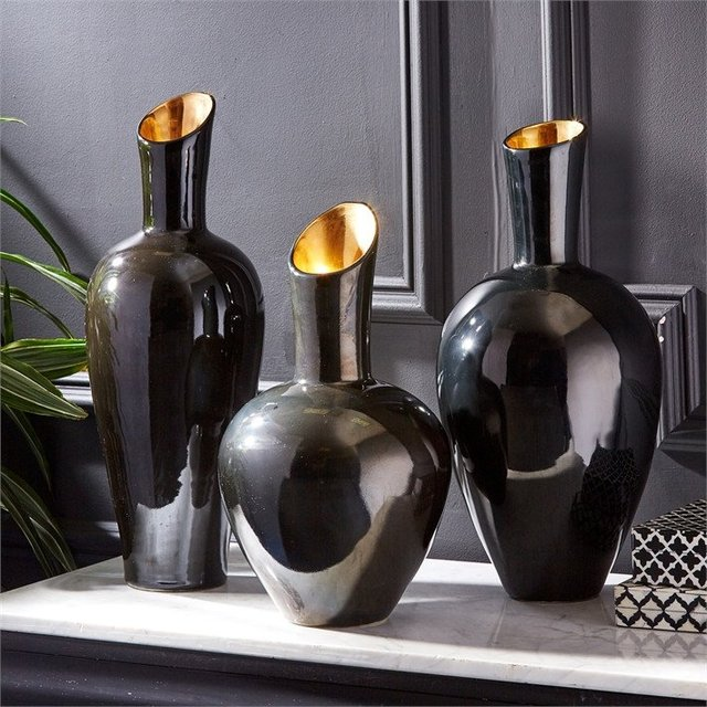 Noir Gold Decorative Vases Set by Tozai