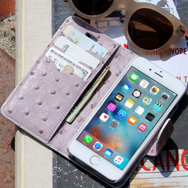 Lavender Ostrich Vegan Leather Wallet iPhone Case