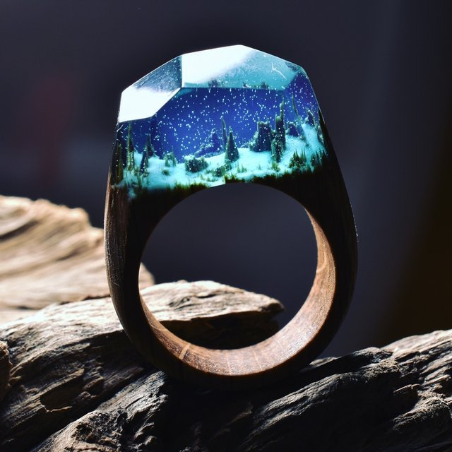 Enchanted Forest Resin & Wood Ring