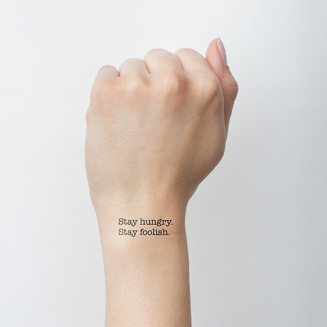 Hungry & Foolish Text Tattoo