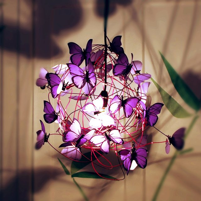 Purple Butterflies Pendant Lamp
