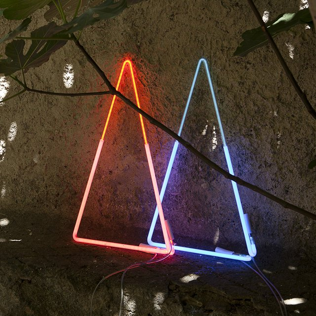 Blue + Red Triangle Neon Lights by White Cubes