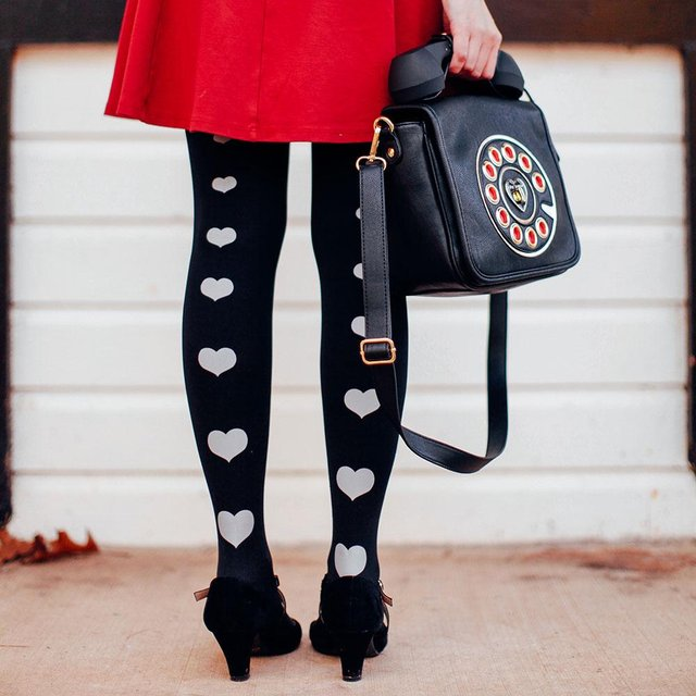 Love Story Back Line of Hearts Print Tights