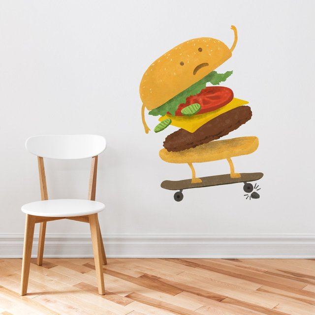 Burger Wipe-Out Wall Decal