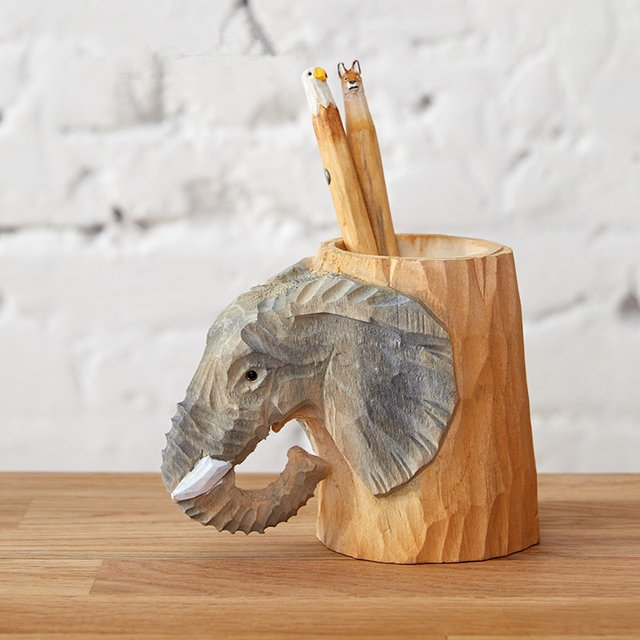 Wooden Elephant Carved Pen Holder