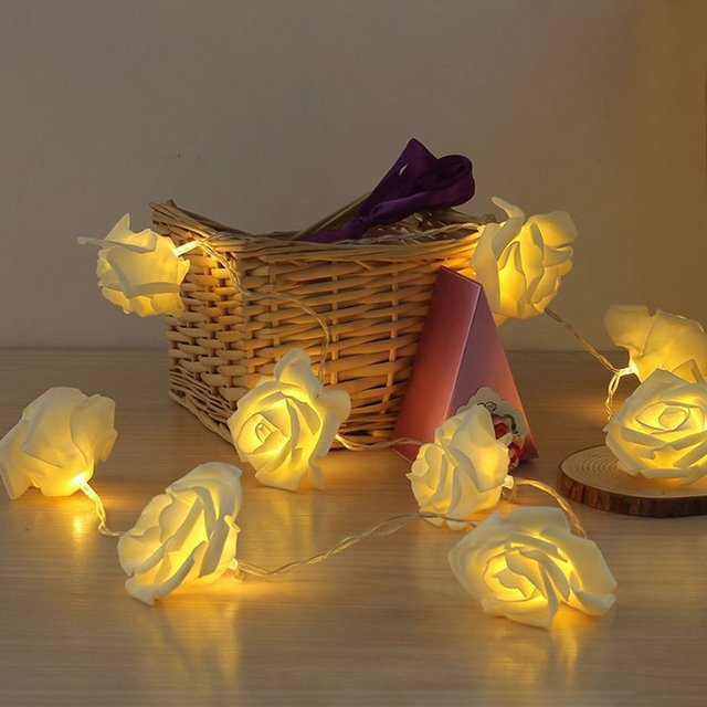 White Rose Fairy Lights