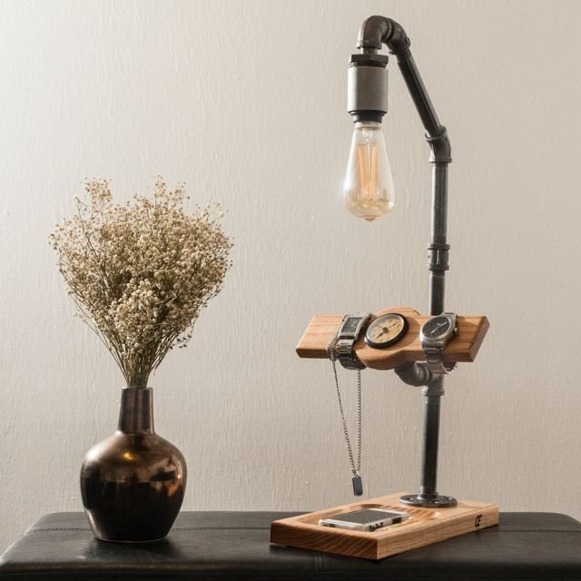 Large Wooden Touch Sensor Lamp