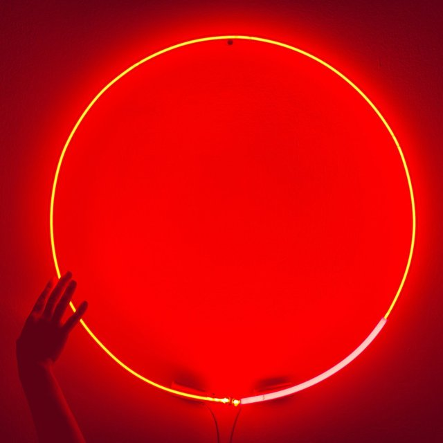 Orange Dimming Circle Neon Light by White Cubes