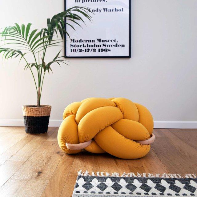Mustard Floor Knot Cushion