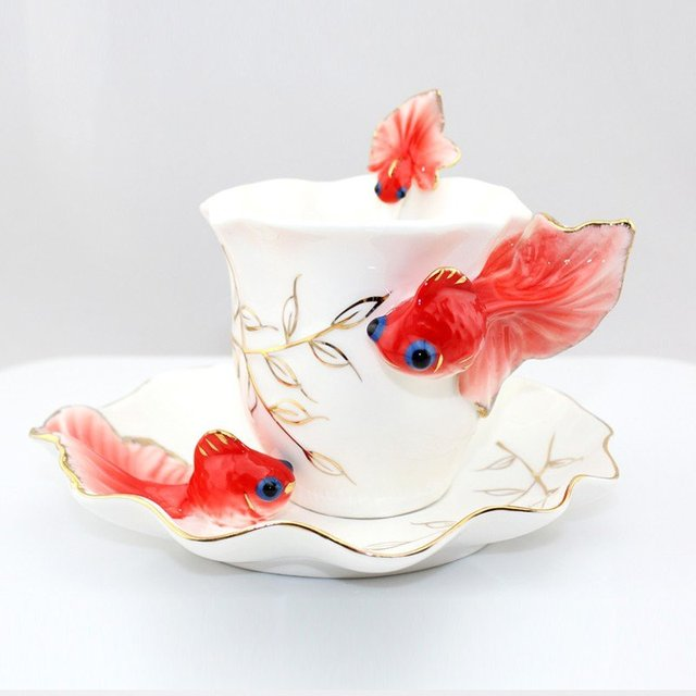 Goldfish Enamel Ceramic Coffee Mug