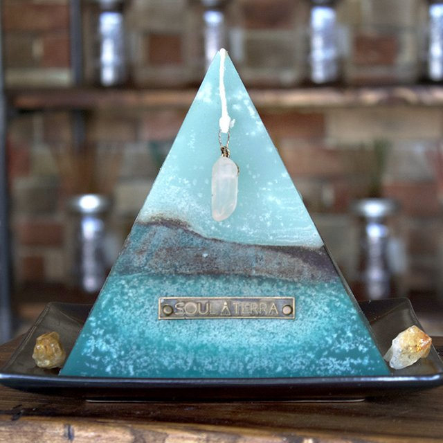 City Monk Crystal-Pyramid Candle by Soul-Terra