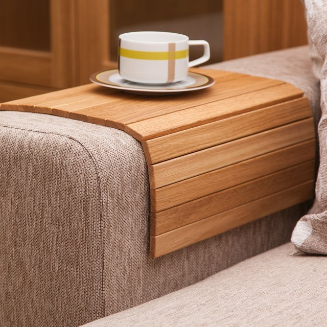 Handmade Wooden Oak Sofa Tray Table