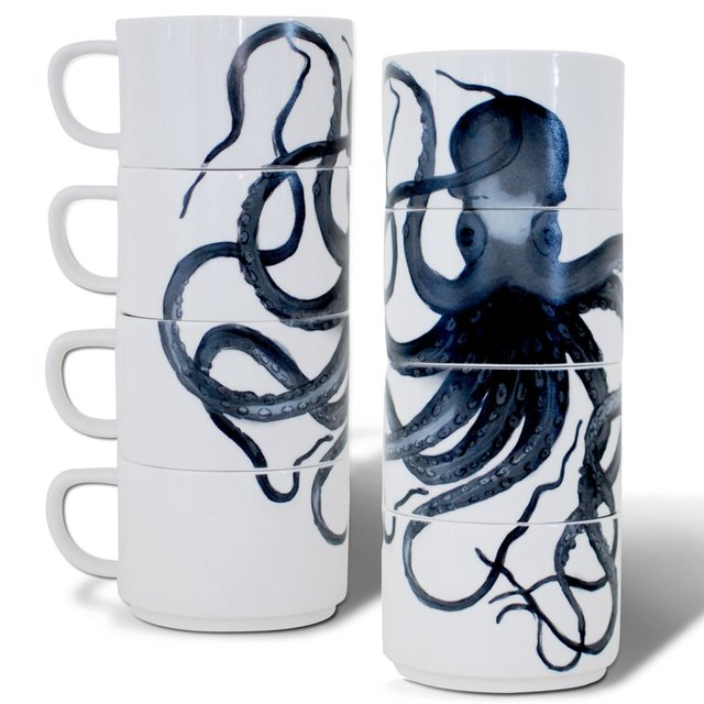 Sea Creatures Porcelain Stacking Cups by imm Living
