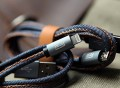 Coloured Hand Sewn Leather Charging iPhone and Android Cable