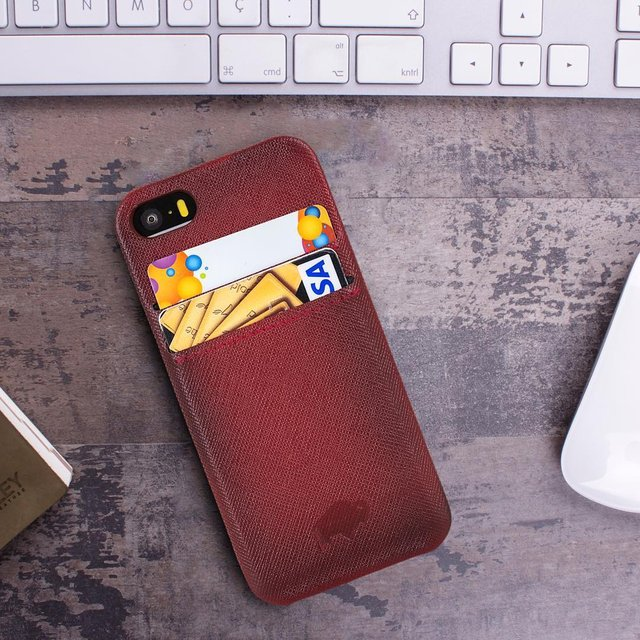 Apple iPhone 6/6S Leather Snap-on Case with Credit Card Slots by Burkley