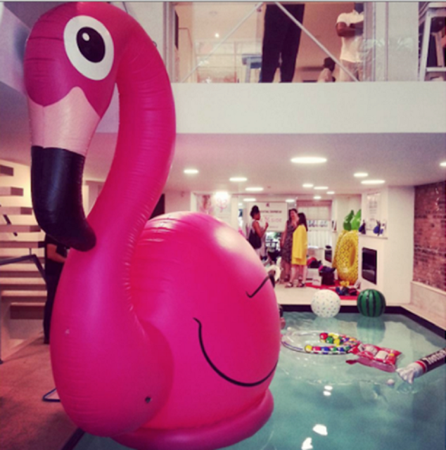 Giant Inflatable Pink Flamingo Pool Toy
