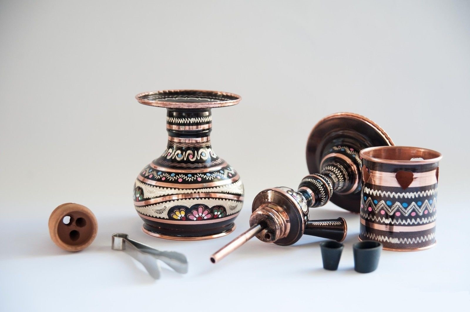 Turkish Traditional Hand Painted Copper Hookah