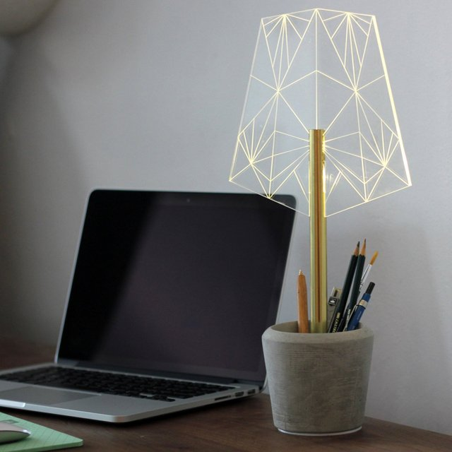 Concrete Pen Holder Office Lamp by SturlesiDesign