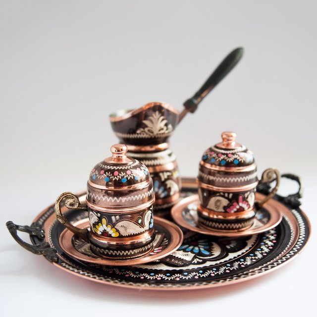 Turkish Hand-Painted Copper Coffee Set