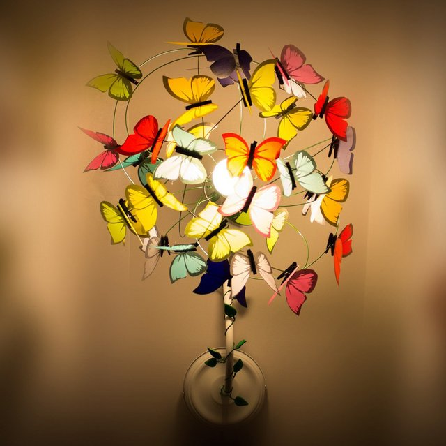 Multicolor Butterflies and Sprouts Sconce Lamp