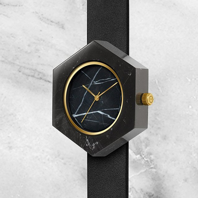 Black Marble Hex Mason Watch
