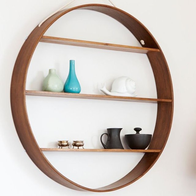 Large Walnut Finish Oak Circle Shelf
