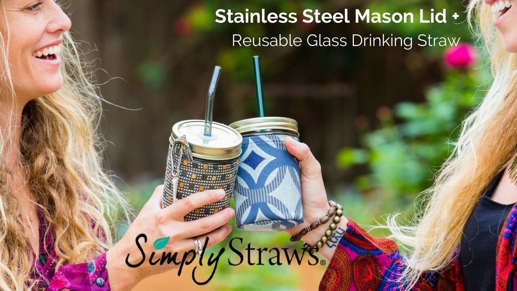 Simply Straws mason lid + glass straw