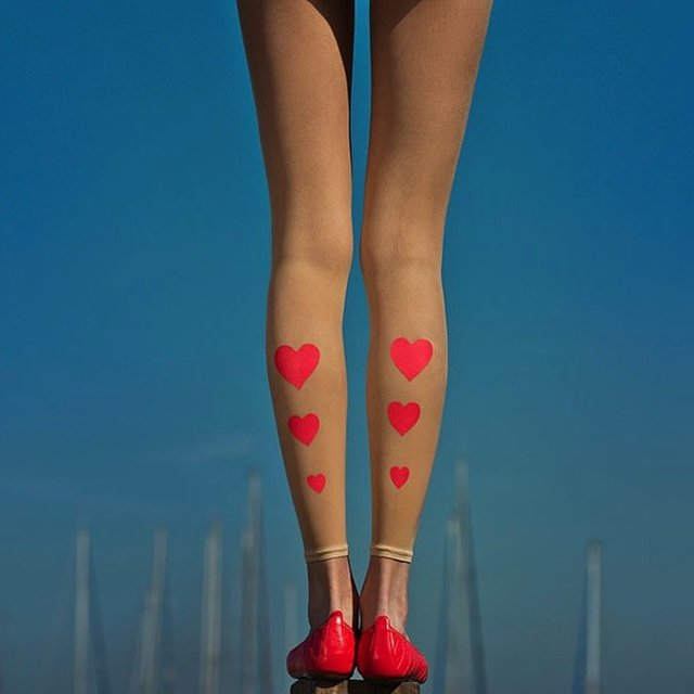 Hearts Print Sheer Footless Tights