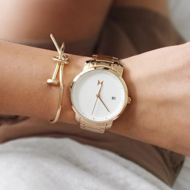 White Rose Gold Watch by MVMT