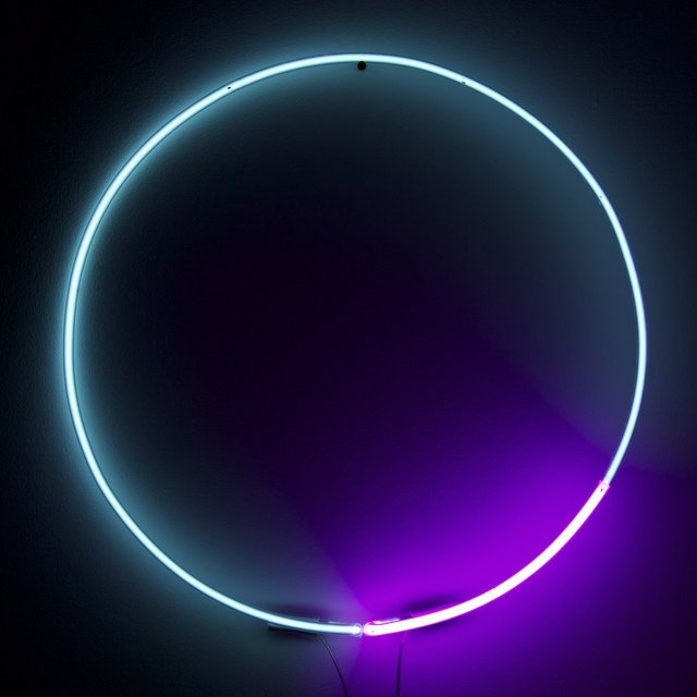 Blue + Magenta Circle Neon Light by White Cubes