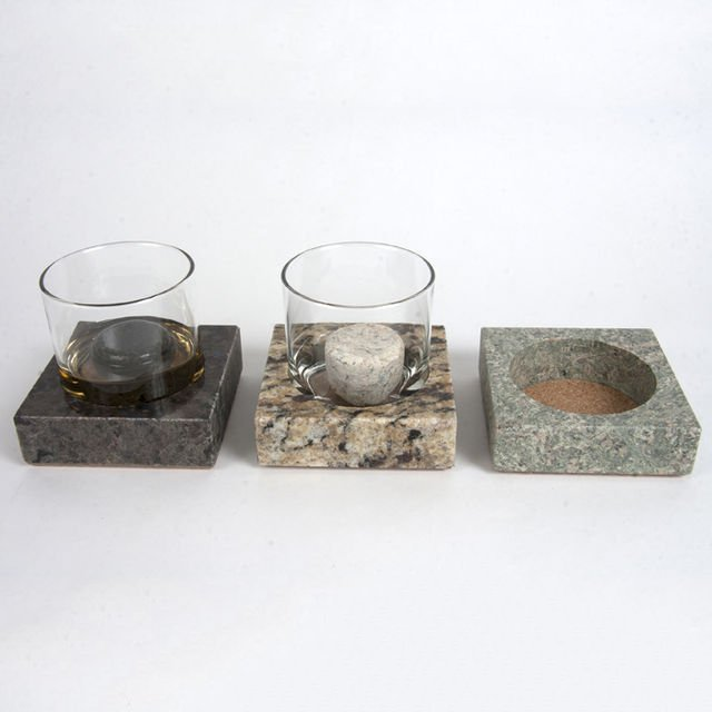 Granite Coasters & Whiskey Stones 6-Piece Glass Set