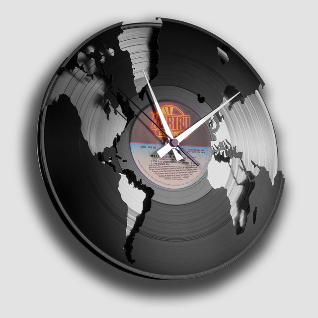 Black & Silver World Vinyl Wall Clock