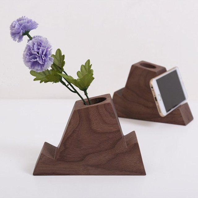 Wood Pen Holder with Phone Stand
