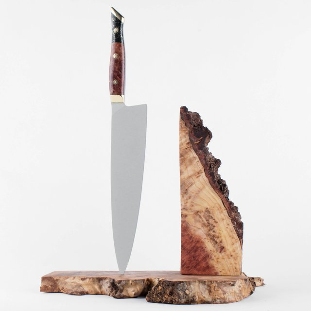 Aura One Chef Knife in Black Onyx and Redwood Burl