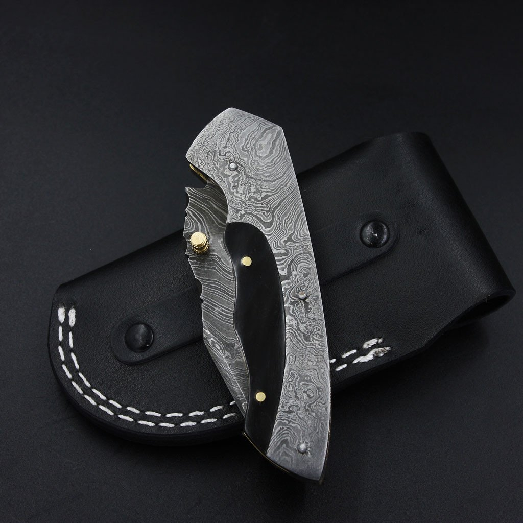 Lucy Handmade Damascus Pocket Knife with Genuine Leather Sheath