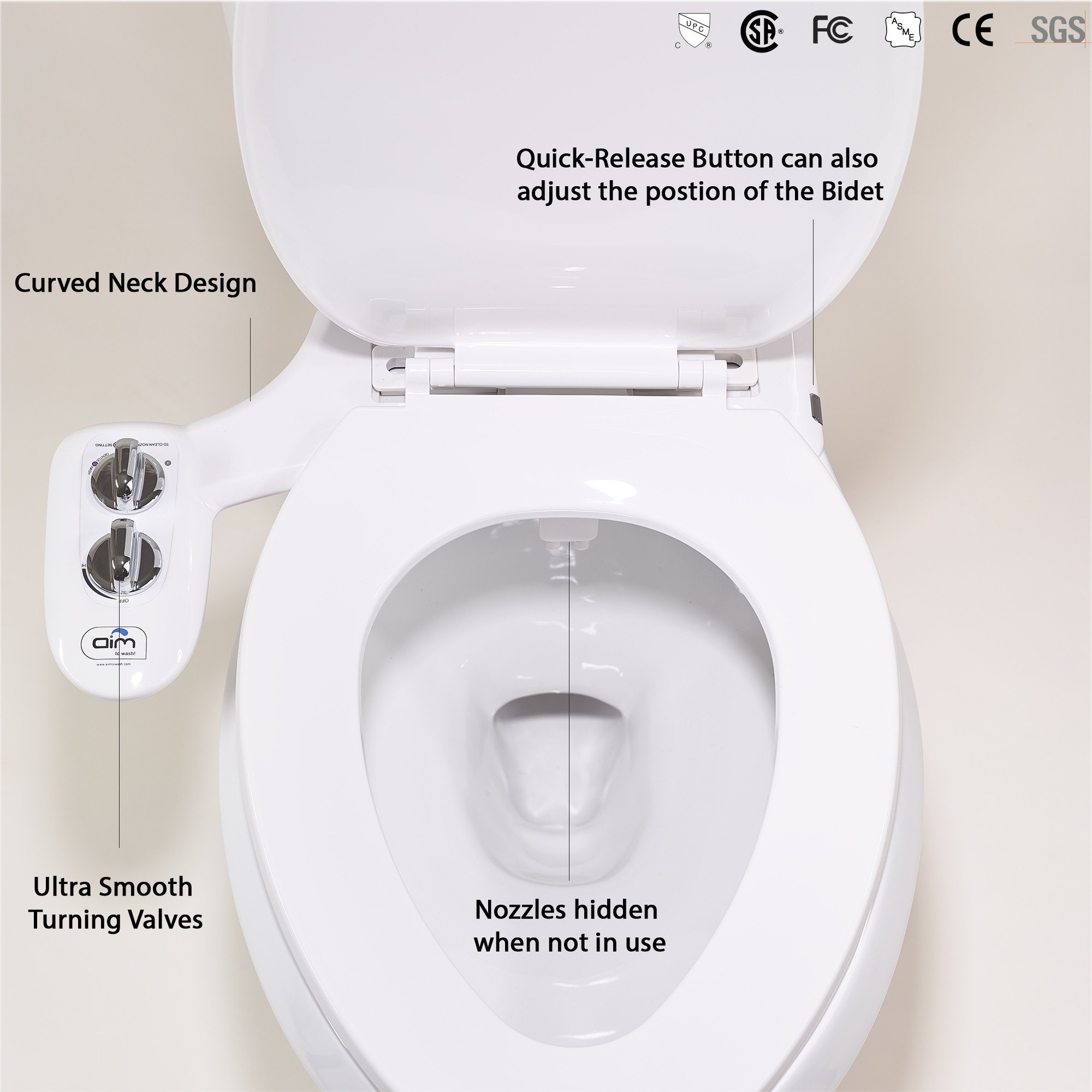 Bidet Attachment + Toilet Night Light + Quick Release