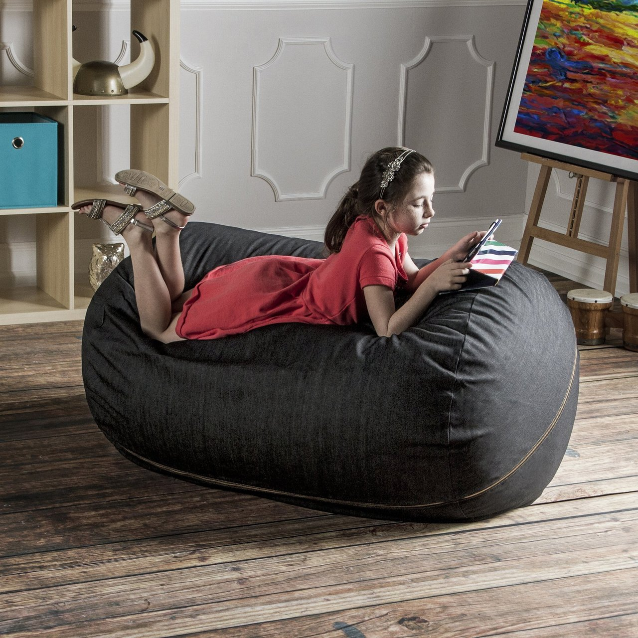 Jaxx Denim Bean Bag Lounger