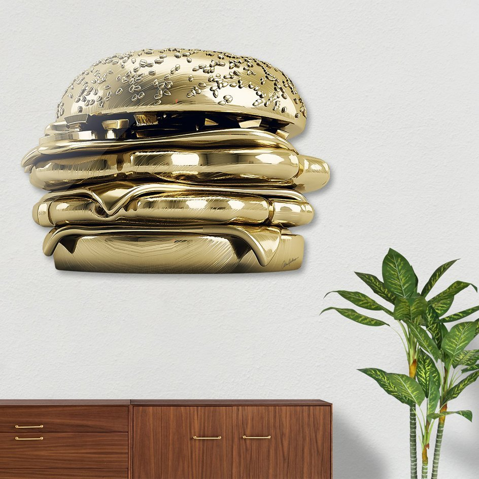 Golden Burger Die Cut Print by Antoni Tudisco
