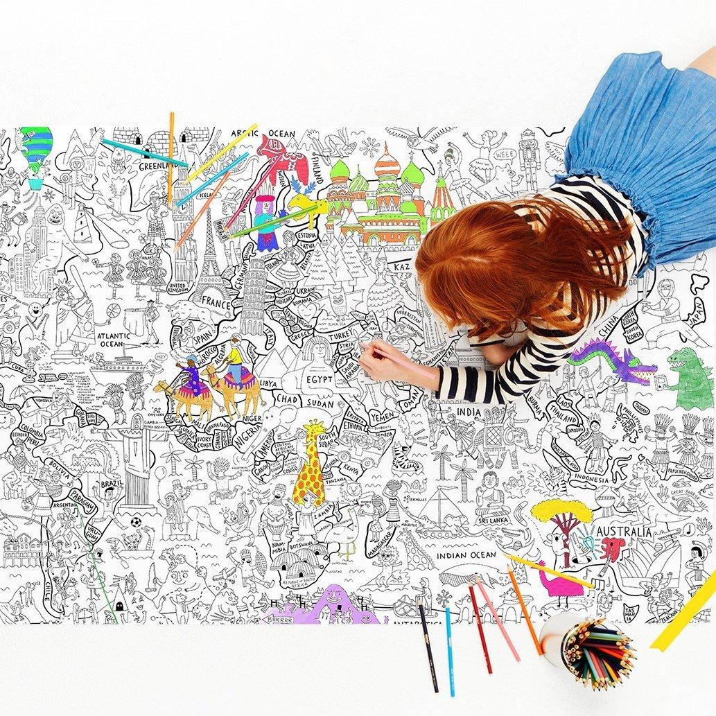 What a Colorful World Coloring Poster