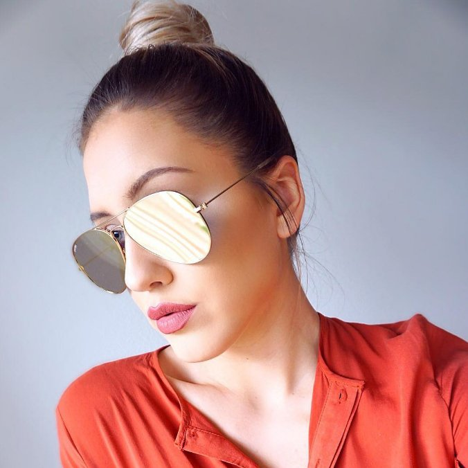 Mango Pink Mirror Rose Gold Flat Lens Large Oversized Aviator Sunglasses