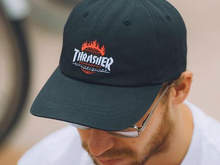 HUF X Thrasher Black TDS Curved Brim 6 Panel Hat