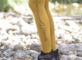 Giraffe Can't Dance Printed Mustard-Yellow Tights