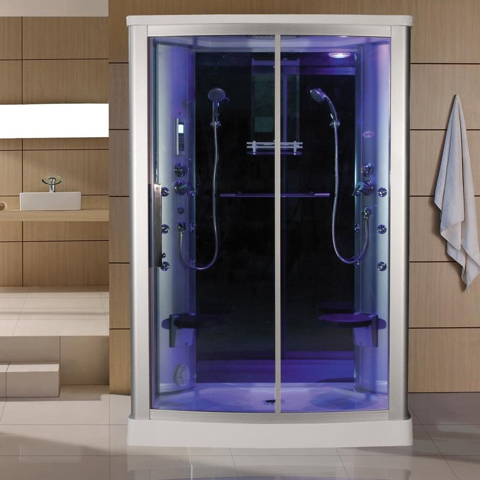Blue Glass Steam Shower by Eagle Bath