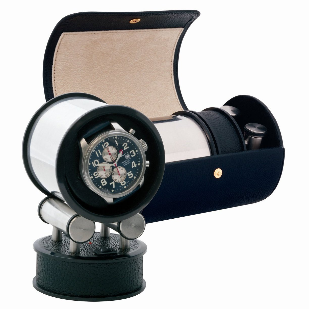 Voyager Black Leather Travel Watch Winder